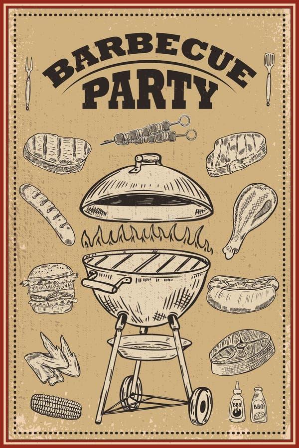 Bbq与手拉的设计元素的党海报 烤肉和格栅 对卡片,横幅,飞行物 皇族释放例证
