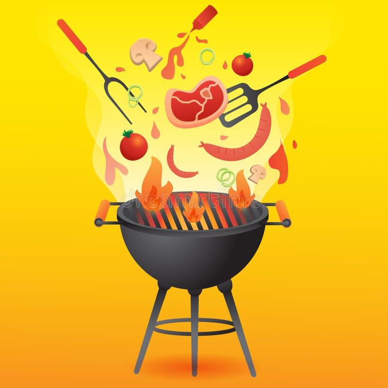 BBQ与食物平的样式传染媒介的格栅党卡片或邀请模板例证的 向量例证