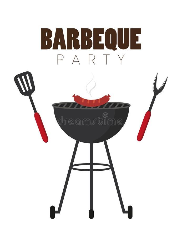 Bbq党红色水壶烤肉用香肠和格栅利器 库存例证