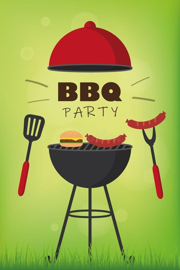 Bbq党红色水壶烤肉用香肠汉堡和格栅利器 皇族释放例证