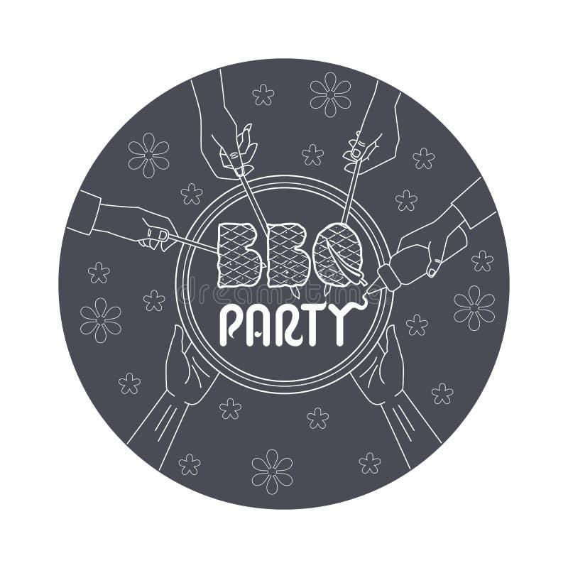 BBQ党邀请卡片例证 向量例证