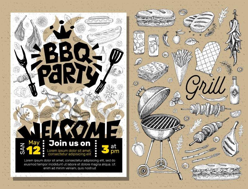 BBQ党食物海报 烤肉模板菜单邀请飞行物d 向量例证
