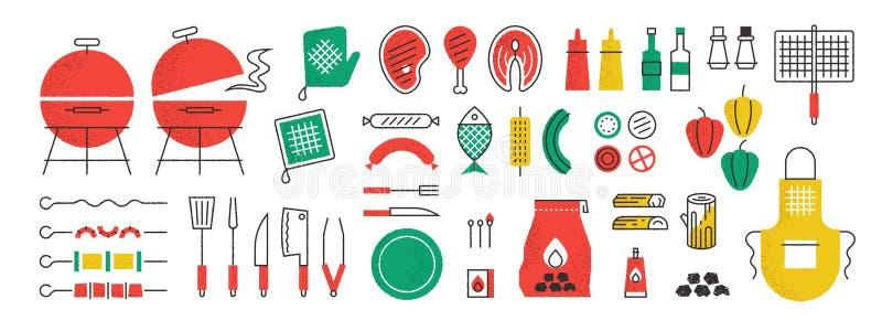 Bbq和格栅象 与烹调烤肉集会的夏天野餐和厨房设备、调味汁小铲和猪肉在串 向量例证