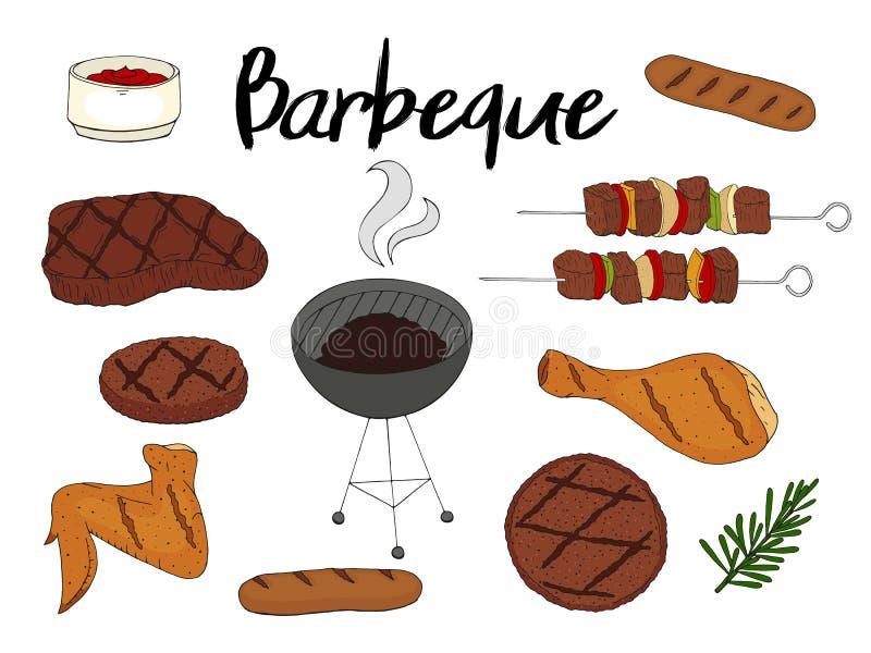 BBQ对象的汇集 设置烤肉元素 库存例证
