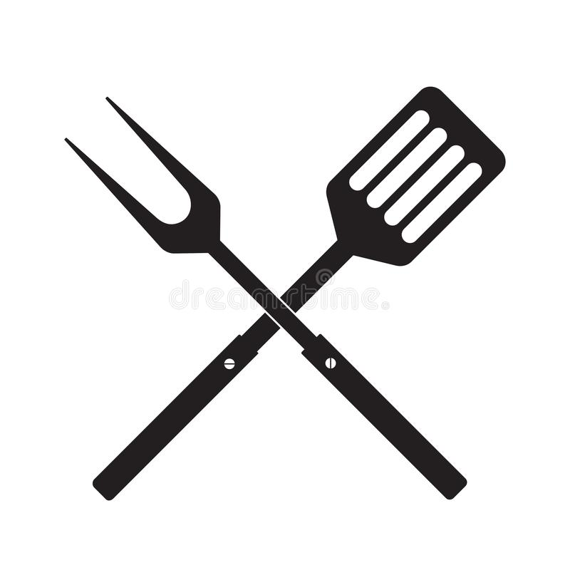 BBQ或格栅工具象 与小铲的横渡的烤肉叉子 免版税库存照片