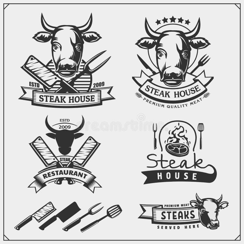BBQ汇集 套格栅牛排标签、徽章和象征 新鲜的牛肉 向量例证
