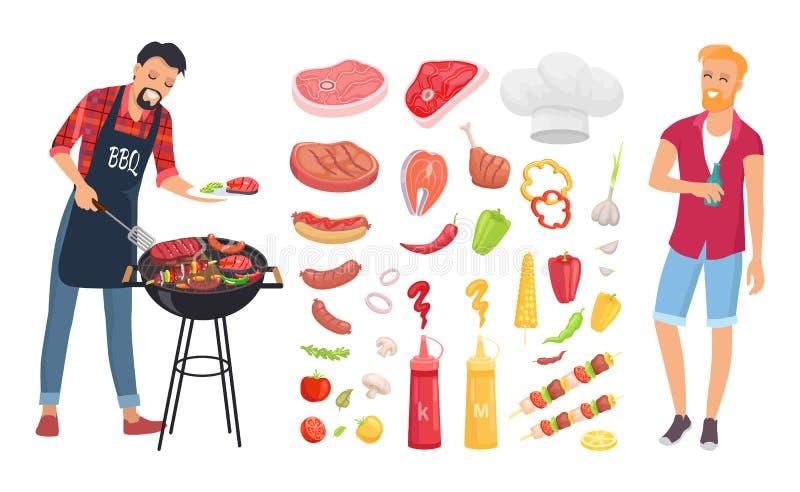 BBQ烤肉素食者象集合传染媒介例证 向量例证