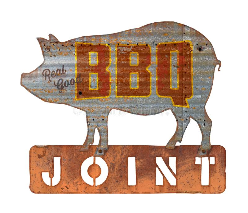 BBQ烤肉葡萄酒标志 免版税库存照片