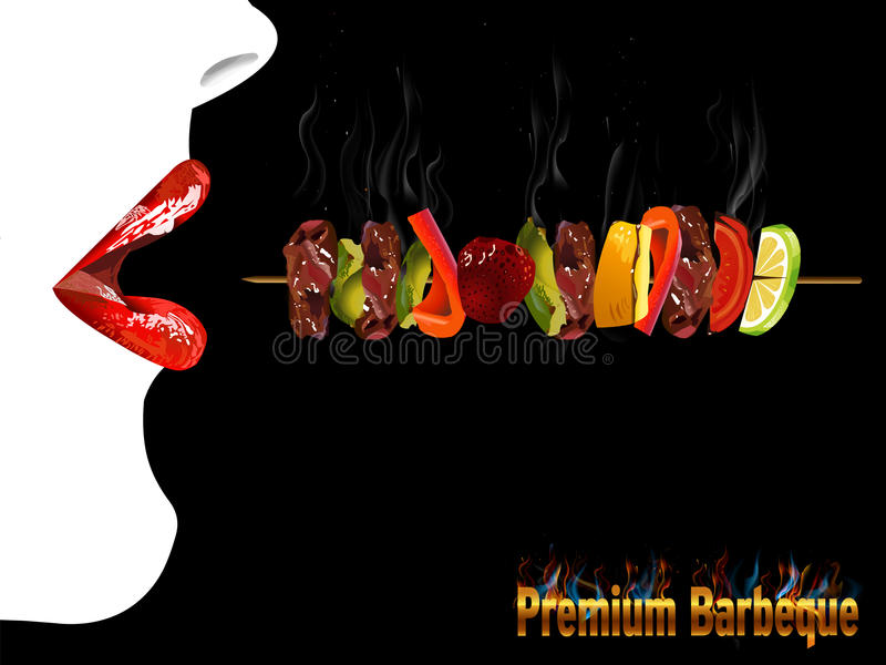 BBQ烤菜单,党邀请,红色嘴唇女孩 皇族释放例证
