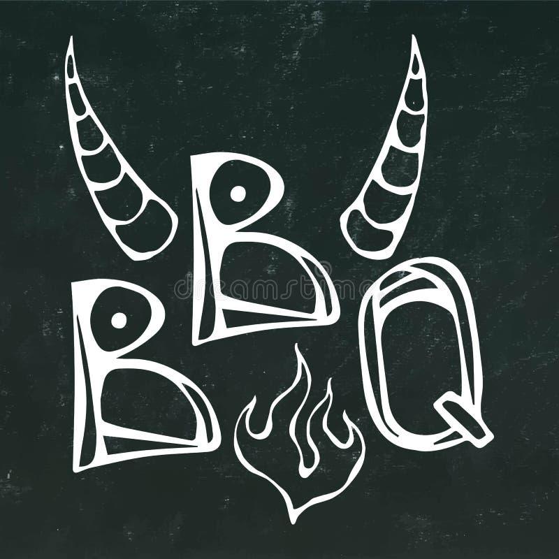 BBQ牛排与火和公牛角的概念字法 肉商标 在黑黑板背景 可实现 皇族释放例证