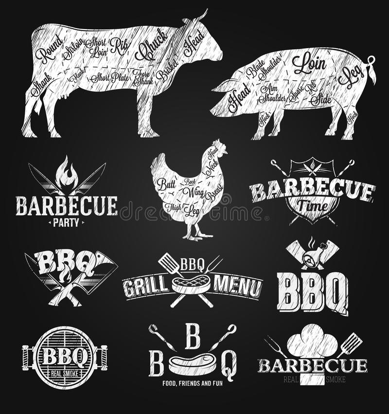 BBQ象征和商标粉笔画 库存例证