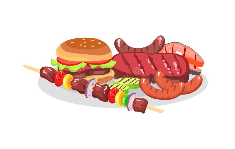BBQ食物博览会、大汉堡和美味牛排 库存例证
