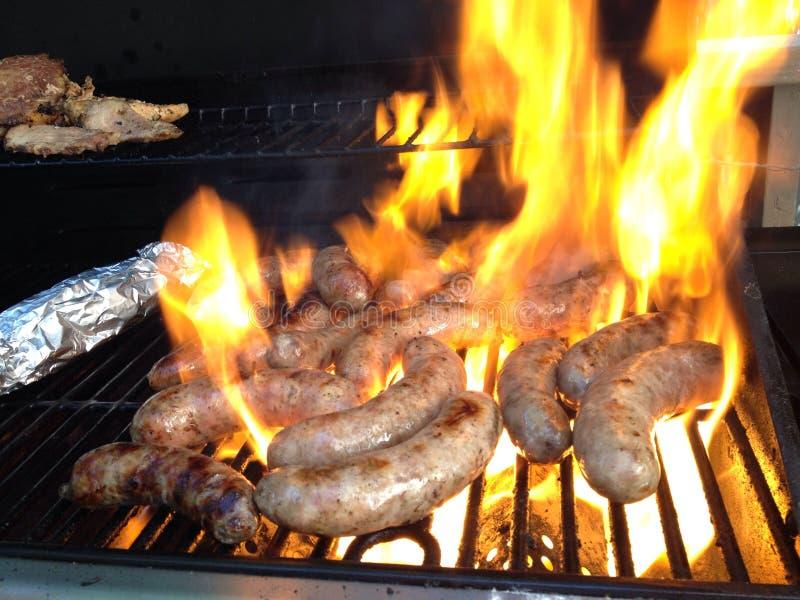 BBQ香肠食物烤肉肉 免版税库存照片