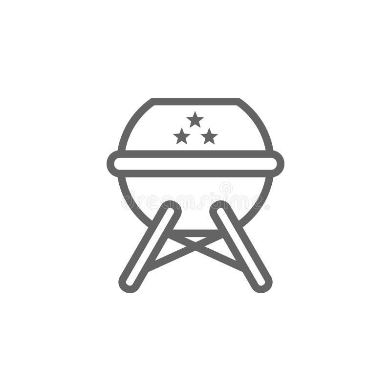 BBQ, ?cone dos EUA Elemento do 4o do ?cone de julho Linha fina ?cone para o projeto do Web site e o desenvolvimento, desenvolvime ilustração do vetor