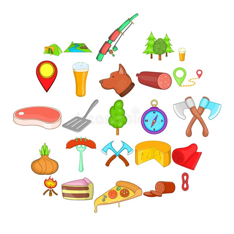 BBQ εικονίδια μεσημεριανού γεύματος καθορισμένα, ύφος κινούμενων σχεδίων απεικόνιση αποθεμάτων