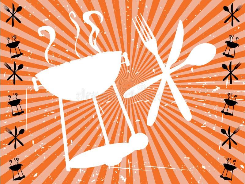 bbq łasowania pomarańczowy promienia sylwetki słońce ilustracja wektor