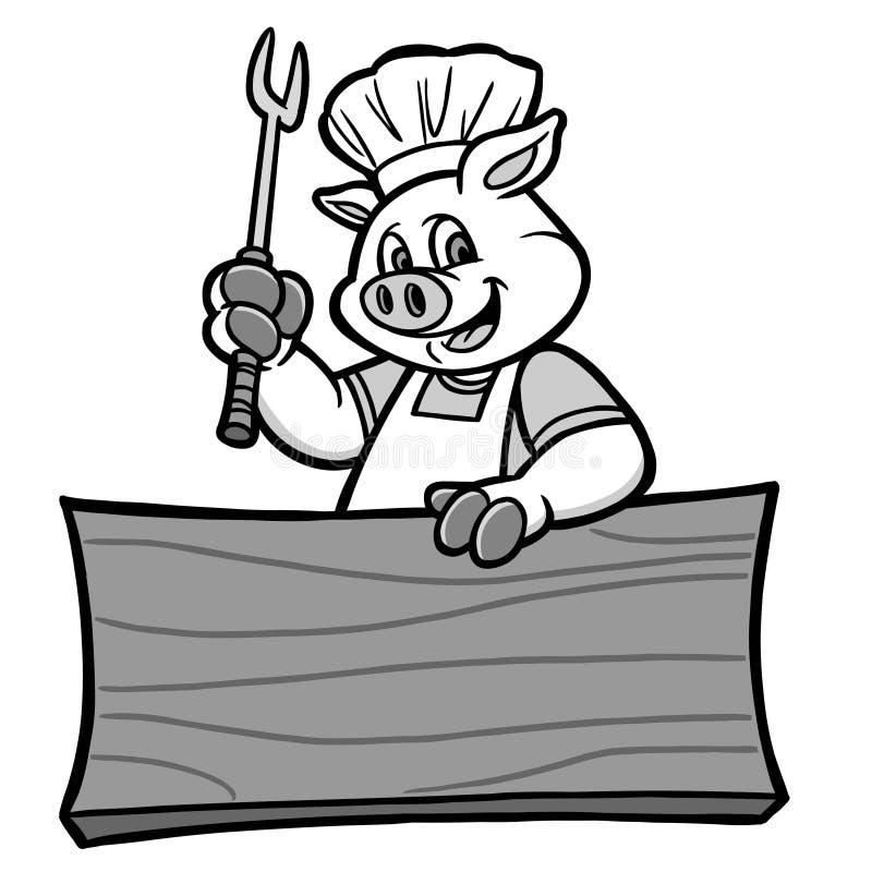 BBQ świnia z Szyldową ilustracją ilustracja wektor
