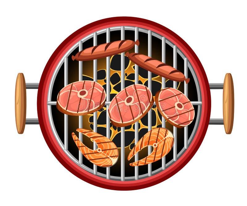 Bbq ανθράκων καψίματος άποψης σχαρών στοιχείων σχεδίου σχαρών τοπ ψάρια και λουκάνικα πικ-νίκ στην κόκκινη μαγειρεύοντας συσκευή  ελεύθερη απεικόνιση δικαιώματος