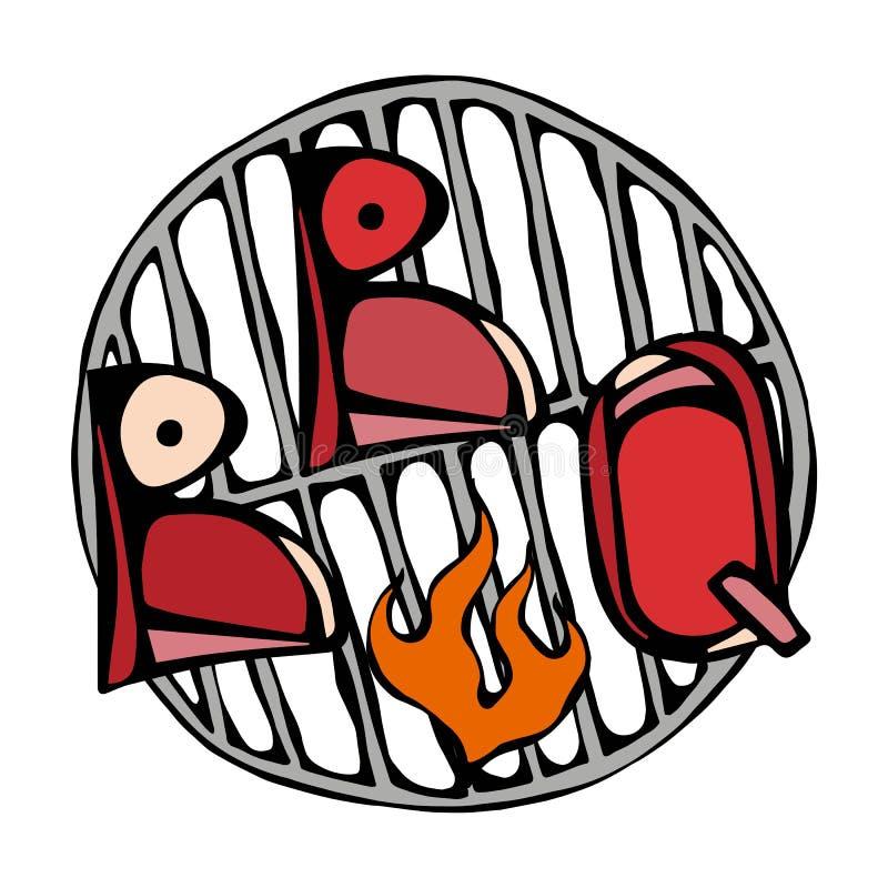 BBQ εγγραφή στη σχάρα με την πυρκαγιά Λογότυπο μπριζόλας σχαρών η ανασκόπηση απομόνωσε το λευκό Ρεαλιστικό χέρι δραχμές ύφους κιν απεικόνιση αποθεμάτων