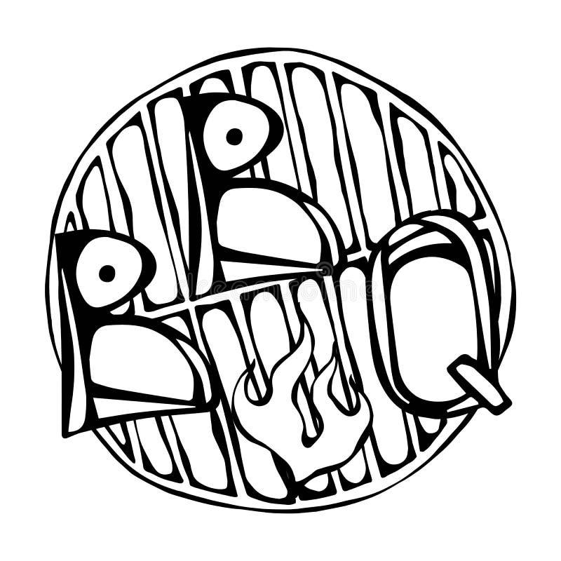 BBQ εγγραφή στη σχάρα με την πυρκαγιά Λογότυπο μπριζόλας σχαρών η ανασκόπηση απομόνωσε το λευκό Ρεαλιστικό χέρι δραχμές ύφους κιν διανυσματική απεικόνιση