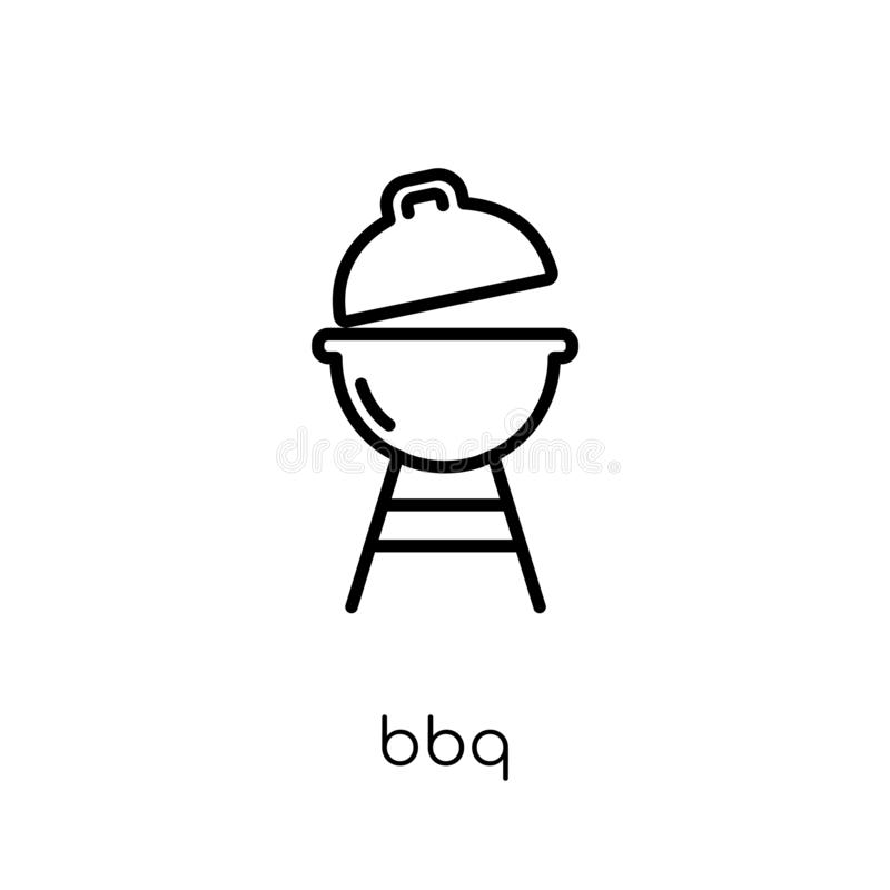 Bbq εικονίδιο Καθιερώνον τη μόδα σύγχρονο επίπεδο γραμμικό διανυσματικό Bbq εικονίδιο στη λευκιά ΤΣΕ απεικόνιση αποθεμάτων