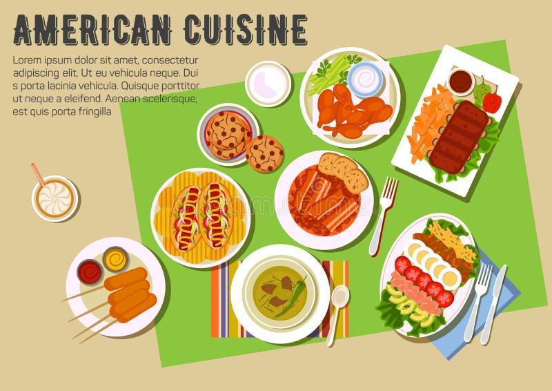 Bbq επίπεδο εικονίδιο κομμάτων με τα αμερικανικά πιάτα κουζίνας απεικόνιση αποθεμάτων