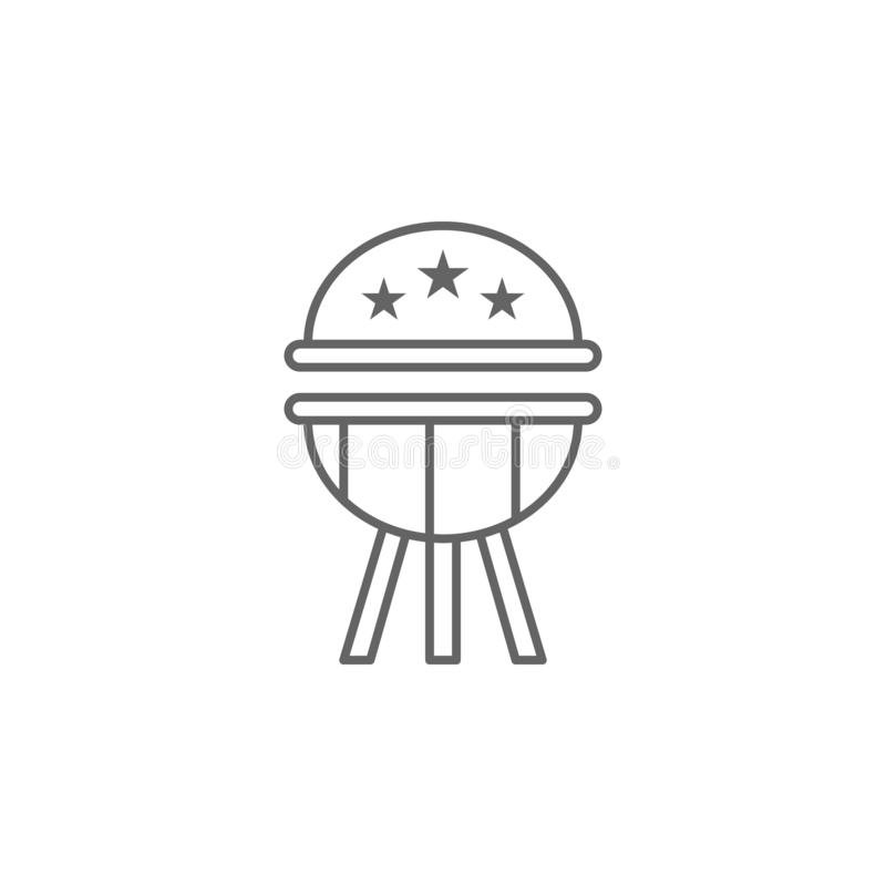 BBQ ΗΠΑ εικονίδιο περιλήψεων E διανυσματική απεικόνιση