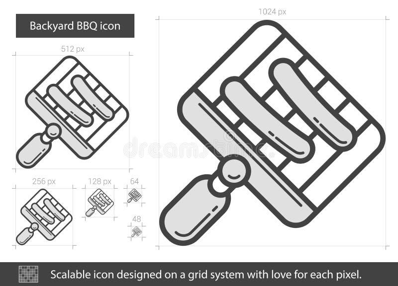 BBQ κατωφλιών εικονίδιο γραμμών ελεύθερη απεικόνιση δικαιώματος