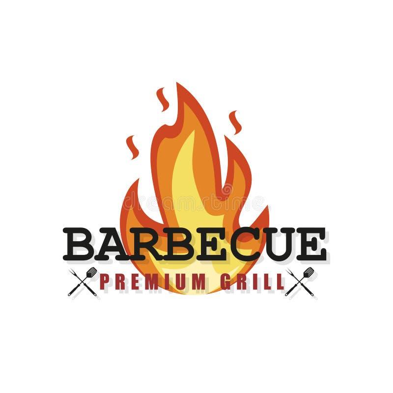 BBQ κόμμα Σχάρα που τίθεται στο διανυσματικό ύφος Bbq λογότυπο, θερινό ύφος r απεικόνιση αποθεμάτων
