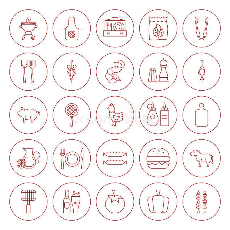 BBQ κύκλων γραμμών εικονίδια καθορισμένα διανυσματική απεικόνιση