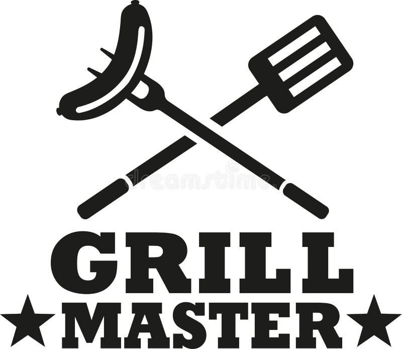 BBQ κύριος σχαρών με τα μαχαιροπήρουνα και το λουκάνικο διανυσματική απεικόνιση