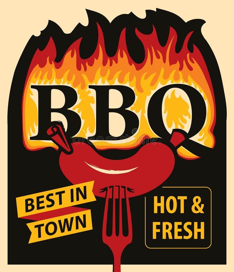 BBQ λέξεων στις φλόγες και λουκάνικο στο δίκρανο διανυσματική απεικόνιση
