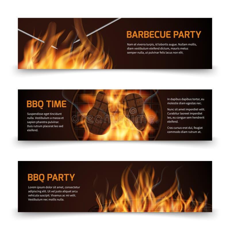 Bbq οριζόντια διανυσματικά εμβλήματα κομμάτων σχαρών που τίθενται με τη ρεαλιστική καυτή πυρκαγιά απεικόνιση αποθεμάτων
