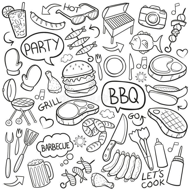 BBQ παραδοσιακό χέρι σκίτσων εικονιδίων Doodle σχαρών - γίνοντα διάνυσμα σχεδίου ελεύθερη απεικόνιση δικαιώματος