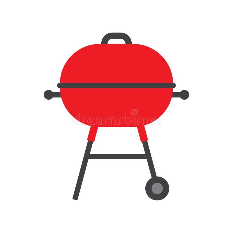 BBQ σχάρα την κόκκινη ΚΑΠ που απομονώνεται με στο λευκό απεικόνιση αποθεμάτων