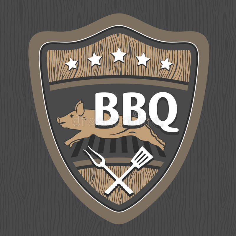 BBQ σχέδιο εμβλημάτων ελεύθερη απεικόνιση δικαιώματος