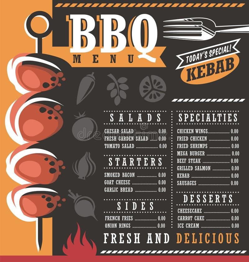 BBQ σχέδιο επιλογών εστιατορίων απεικόνιση αποθεμάτων