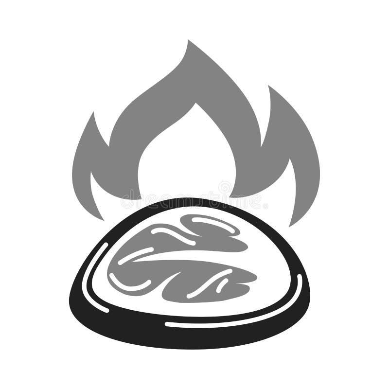 BBQ σχαρών κρέατος μπριζόλας διχτυού εικονίδιο του μπριζόλας που ψήνεται στη σχάρα διανυσματικό στη φλόγα πυρκαγιάς απεικόνιση αποθεμάτων