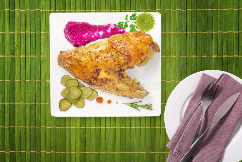 BBQ φτερά κοτόπουλου, πικάντικο ψημένο στη σχάρα κρέας στοκ φωτογραφίες