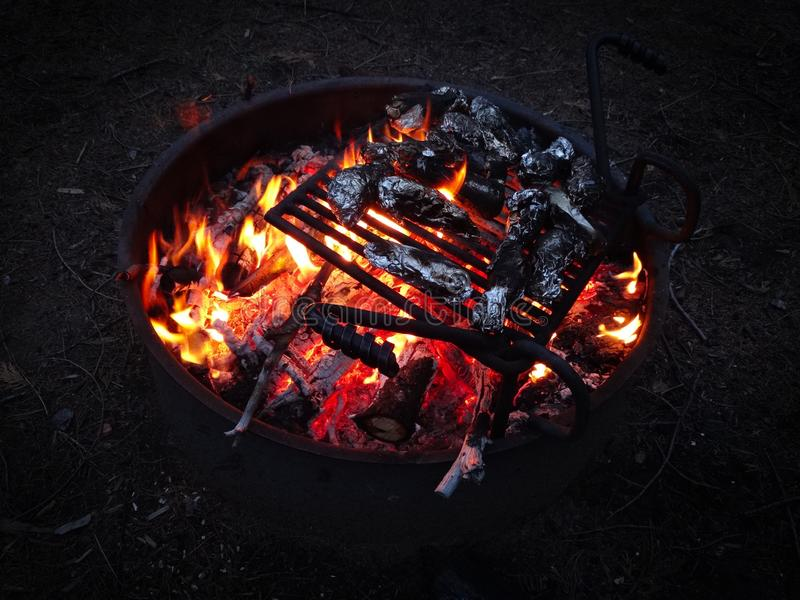 BBQ в природе на открытом огне в Yosimite стоковое изображение rf