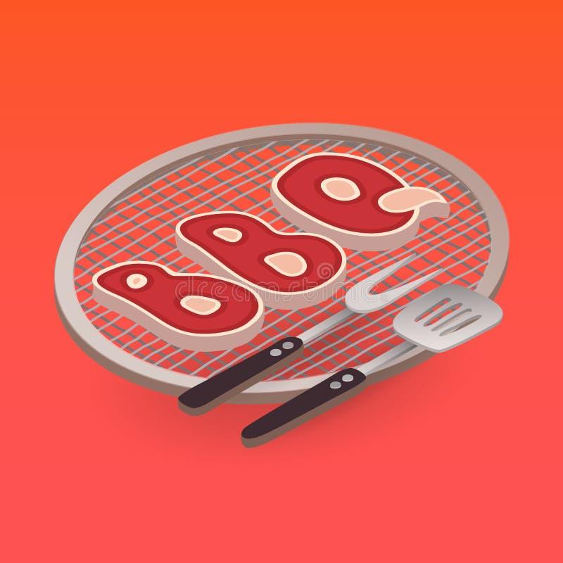 BBQ писем на элементах гриля и барбекю вектор бесплатная иллюстрация
