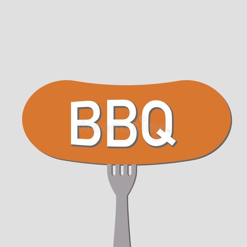 Bbq позволяет грилю некоторая предпосылка сосиски серая иллюстрация штока