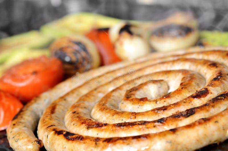BBQ с сосиской стоковое изображение