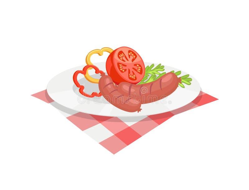 BBQ установил, сосиска для барбекю на значке вектора плиты иллюстрация вектора