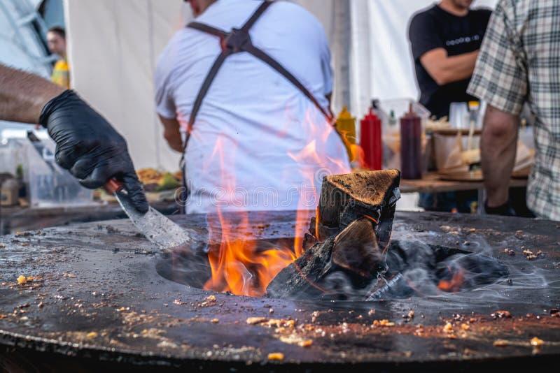 ?BBQ 火焰格栅特写镜头,室外烤肉 免版税图库摄影