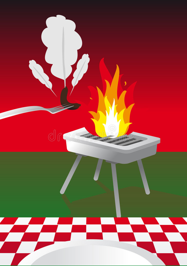 Download BBQ stock vector. Image of causage, sausage, evening, saucage - 6072283