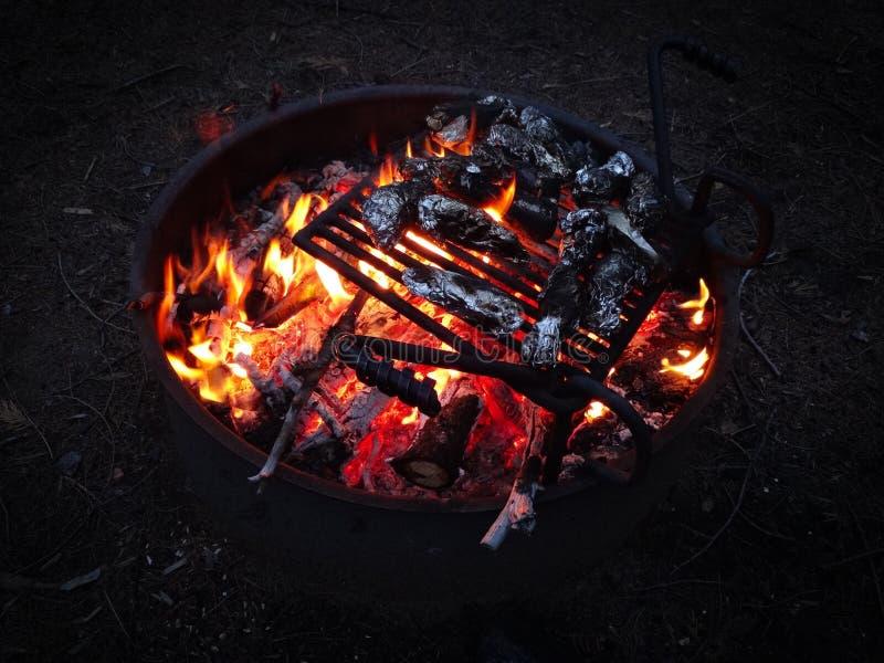 BBQ in aard op een open brand in Yosimite royalty-vrije stock afbeelding