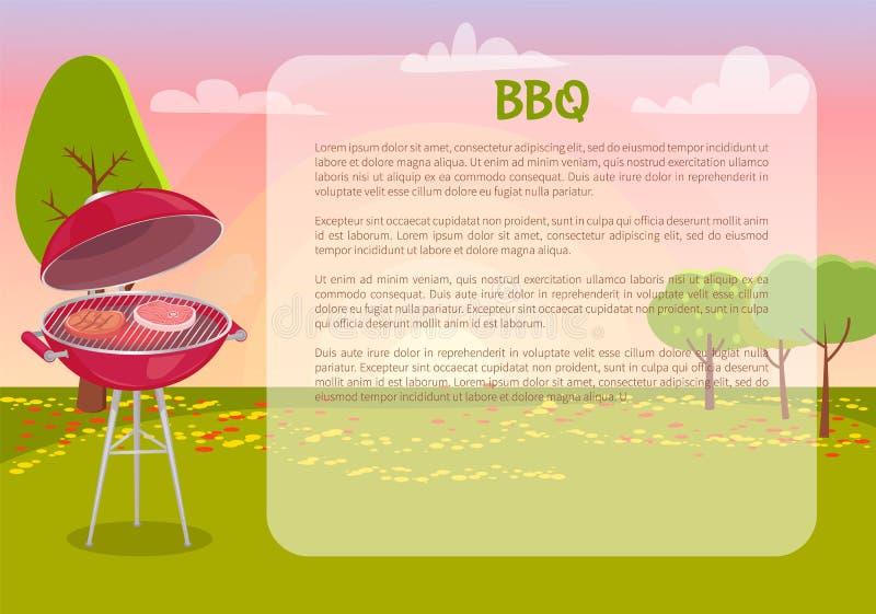 Bbq-affisch med illustrationen för textnaturvektor vektor illustrationer