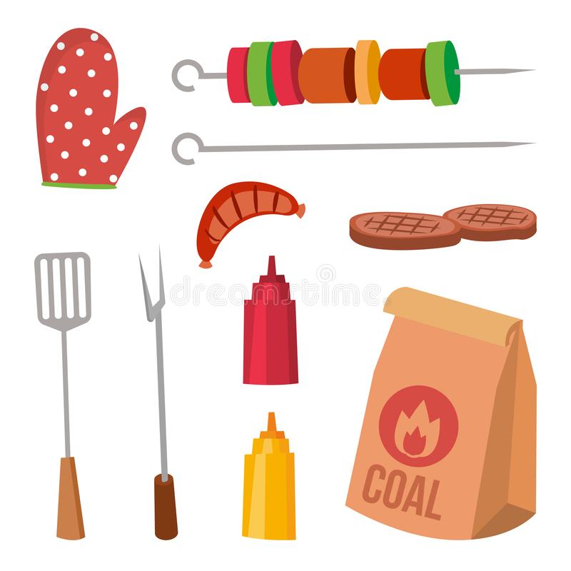 BBQ akcesoria Ustawiający wektor Kumberland, musztarda, rozwidlenie, węgiel, rękawiczka, stek, Kebab, kiełbasy Odosobniona kreskó ilustracja wektor