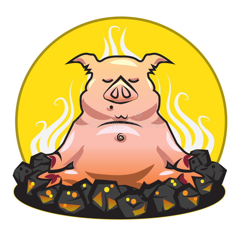 Free BBQ And Grill Illustration - The Pork - Yoga On A Royalty Free Stock Photo - 32914345